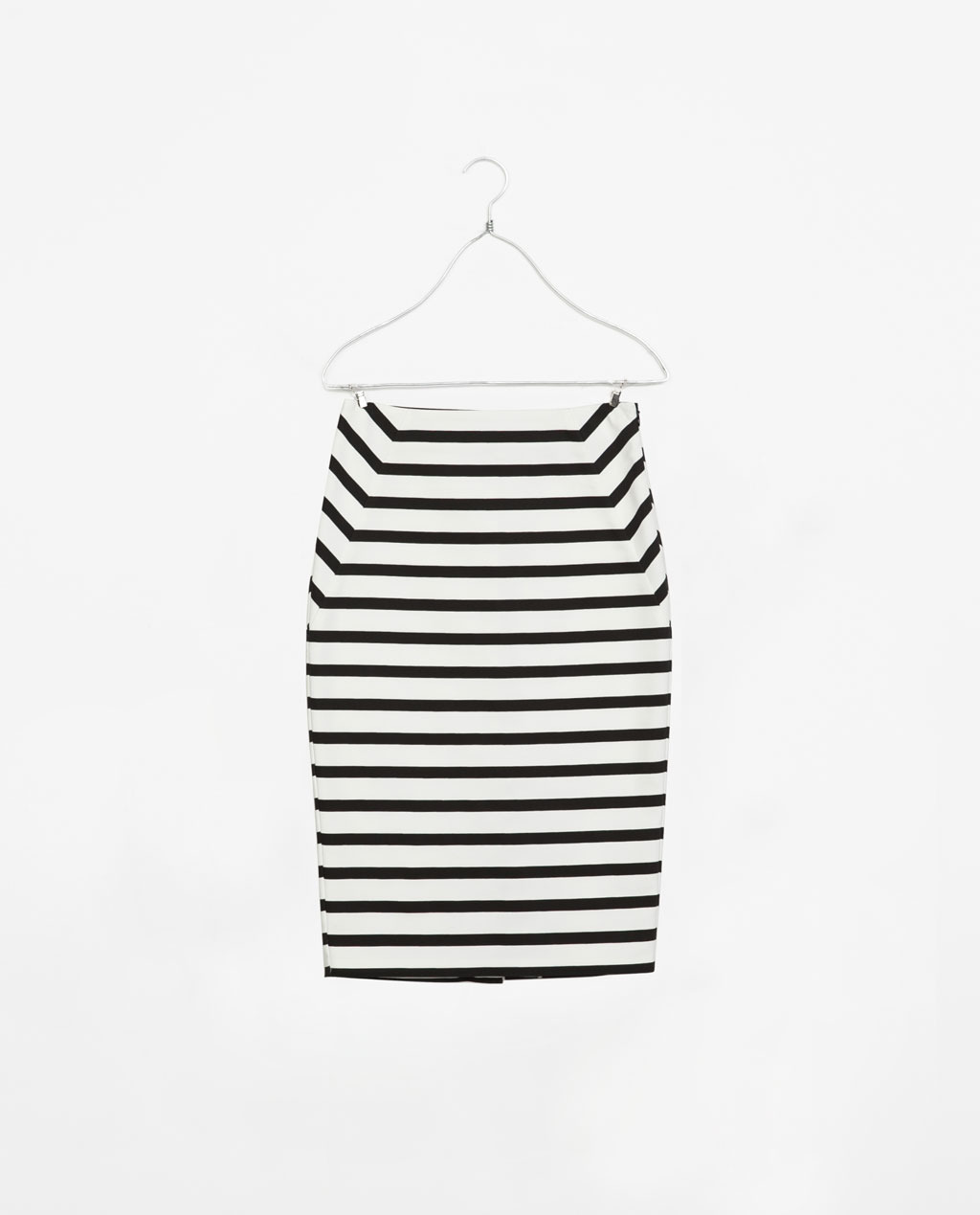 Striped Tube Skirt - length: below the knee; style: pencil; fit: tight; waist: high rise; predominant colour: white; secondary colour: black; occasions: casual, holiday, creative work; fibres: cotton - stretch; pattern type: fabric; texture group: jersey - stretchy/drapey; season: s/s 2014; trends: monochrome; pattern size: standard (bottom); pattern: horizontal stripes (bottom)