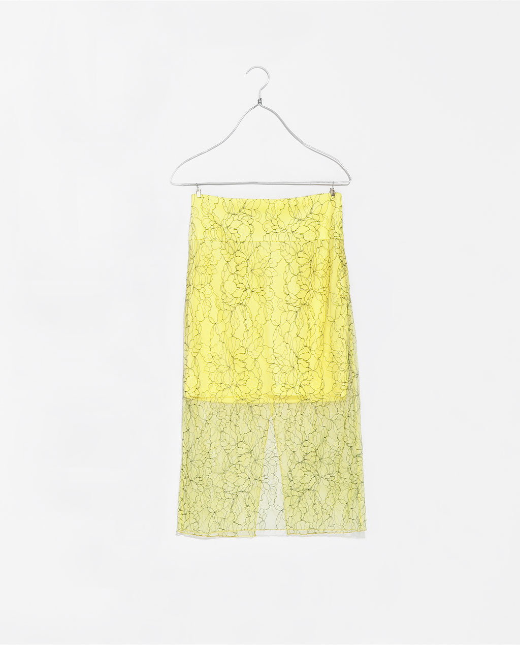 Lace Skirt - length: below the knee; style: pencil; fit: body skimming; waist: mid/regular rise; predominant colour: primrose yellow; occasions: evening, occasion, holiday, creative work; fibres: nylon - mix; texture group: lace; pattern type: fabric; pattern: patterned/print; embellishment: lace; season: s/s 2014; wardrobe: highlight; embellishment location: all over