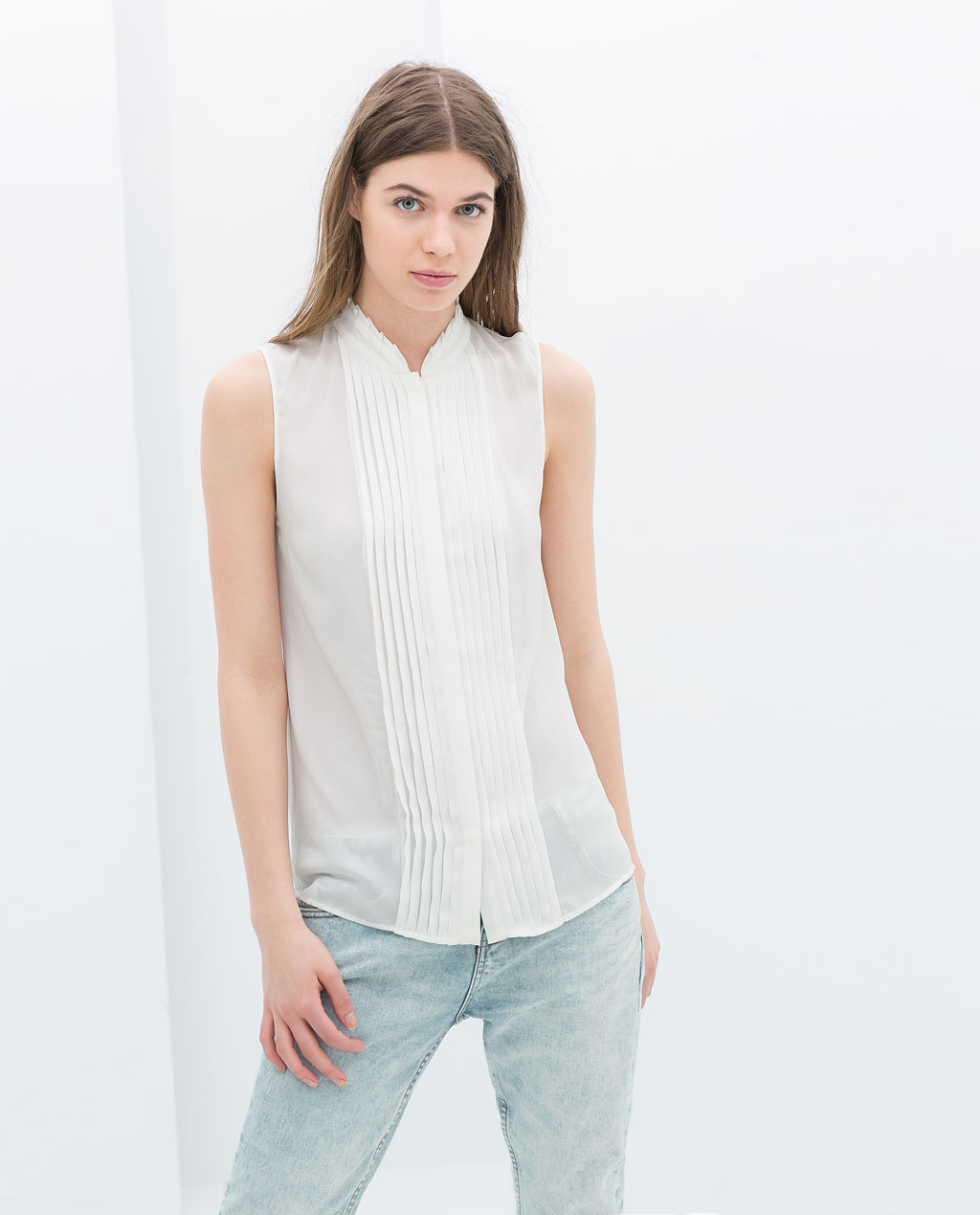 Pleated Shirt - pattern: plain; sleeve style: sleeveless; style: shirt; predominant colour: ivory/cream; occasions: casual, evening, work, holiday, creative work; length: standard; neckline: collarstand; fibres: polyester/polyamide - 100%; fit: straight cut; sleeve length: sleeveless; texture group: sheer fabrics/chiffon/organza etc.; season: s/s 2014
