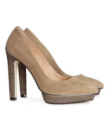 Court Shoes - predominant colour: camel; occasions: evening, work, occasion, creative work; heel: standard; toe: pointed toe; style: courts; finish: plain; pattern: plain; heel height: very high; material: faux suede; shoe detail: platform; season: s/s 2014