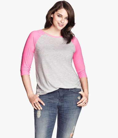 Hm+ Top With Raglan Sleeves - neckline: round neck; sleeve style: raglan; secondary colour: pink; predominant colour: light grey; occasions: casual, creative work; length: standard; style: top; fibres: viscose/rayon - stretch; fit: body skimming; sleeve length: 3/4 length; pattern type: fabric; pattern size: standard; pattern: colourblock; texture group: jersey - stretchy/drapey; season: s/s 2014