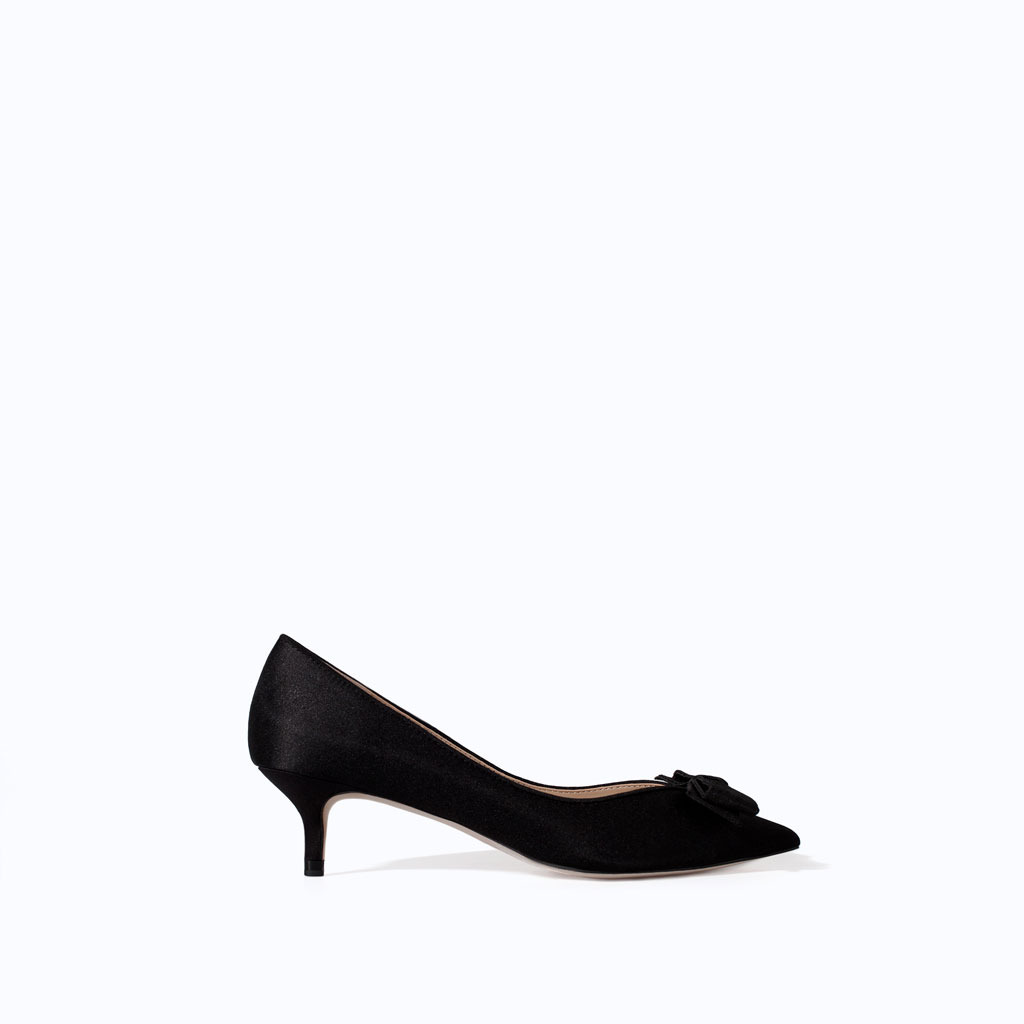 Kitten Heel Shoes With Bow - predominant colour: black; occasions: evening, work, occasion; material: satin; heel height: mid; heel: kitten; toe: pointed toe; style: courts; finish: plain; pattern: plain; embellishment: bow; season: s/s 2014