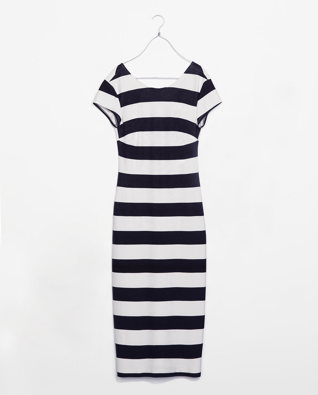 Dress With A Low Cut Back - style: t-shirt; length: below the knee; neckline: slash/boat neckline; pattern: horizontal stripes; back detail: low cut/open back; secondary colour: white; predominant colour: black; occasions: casual, evening, occasion, holiday, creative work; fit: body skimming; fibres: viscose/rayon - stretch; sleeve length: short sleeve; sleeve style: standard; pattern type: fabric; pattern size: standard; texture group: jersey - stretchy/drapey; season: s/s 2014; trends: monochrome