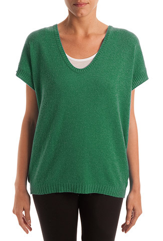 Malachite Cashmere Sleeveless Tunic - pattern: plain; length: below the bottom; style: tunic; predominant colour: dark green; occasions: casual, creative work; neckline: scoop; fit: loose; fibres: cashmere - 100%; sleeve length: short sleeve; sleeve style: standard; texture group: knits/crochet; season: s/s 2014