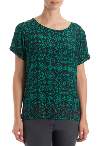 Ebony & Jade Ikat Silk Blouse - neckline: round neck; style: t-shirt; predominant colour: navy; secondary colour: dark green; occasions: casual, evening, work, holiday, creative work; length: standard; fibres: silk - 100%; fit: straight cut; sleeve length: short sleeve; sleeve style: standard; texture group: silky - light; pattern type: fabric; pattern size: standard; pattern: florals; season: s/s 2014