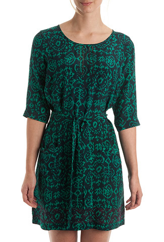 Ebony & Jade Ikat Silk Tunic - neckline: round neck; style: tunic; waist detail: belted waist/tie at waist/drawstring; predominant colour: dark green; secondary colour: black; occasions: casual, holiday, creative work; fibres: silk - 100%; fit: loose; length: mid thigh; sleeve length: 3/4 length; sleeve style: standard; texture group: silky - light; pattern type: fabric; pattern size: standard; pattern: patterned/print; season: s/s 2014; wardrobe: highlight