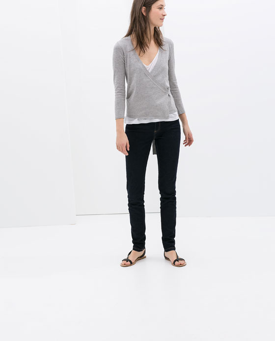 3/4 Length Sleeve Cardigan - neckline: low v-neck; pattern: plain; style: wrap; predominant colour: light grey; occasions: casual, work, creative work; length: standard; fit: slim fit; sleeve length: 3/4 length; sleeve style: standard; texture group: knits/crochet; pattern type: knitted - fine stitch; fibres: viscose/rayon - mix; season: s/s 2014