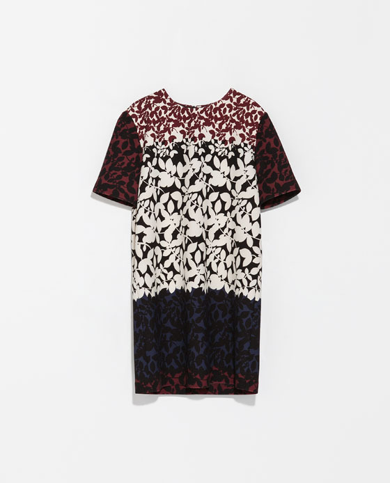 Flower Print Dress - style: t-shirt; length: mid thigh; fit: loose; secondary colour: white; predominant colour: burgundy; occasions: casual, holiday, creative work; fibres: polyester/polyamide - 100%; neckline: crew; sleeve length: short sleeve; sleeve style: standard; pattern type: fabric; pattern size: big & busy; pattern: patterned/print; texture group: other - light to midweight; season: s/s 2014