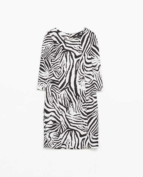 Zebra Print Dress - style: shift; length: mid thigh; neckline: round neck; fit: tailored/fitted; secondary colour: white; predominant colour: black; occasions: evening; fibres: polyester/polyamide - stretch; sleeve length: 3/4 length; sleeve style: standard; pattern type: fabric; pattern size: standard; pattern: animal print; texture group: jersey - stretchy/drapey; season: s/s 2014