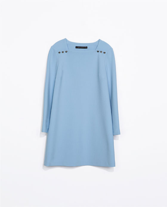 Long Sleeve Dress With Buttons - style: tunic; length: mini; neckline: high square neck; fit: loose; pattern: plain; predominant colour: pale blue; occasions: casual, creative work; fibres: polyester/polyamide - stretch; sleeve length: long sleeve; sleeve style: standard; pattern type: fabric; texture group: other - light to midweight; trends: sorbet shades; season: s/s 2014