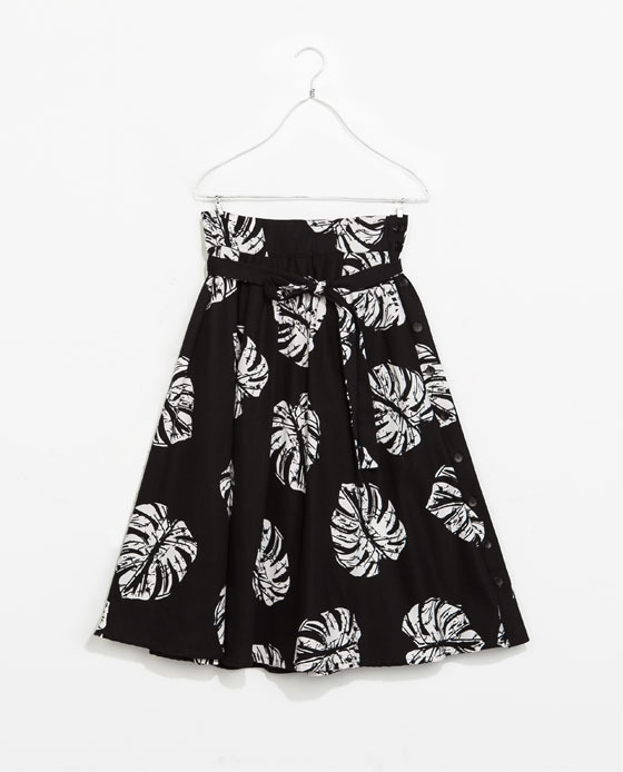 Skirt - length: below the knee; fit: loose/voluminous; waist: high rise; waist detail: belted waist/tie at waist/drawstring; secondary colour: white; predominant colour: black; occasions: casual, evening, holiday, creative work; style: a-line; fibres: cotton - stretch; hip detail: soft pleats at hip/draping at hip/flared at hip; texture group: cotton feel fabrics; pattern type: fabric; pattern: patterned/print; season: s/s 2014; trends: monochrome; pattern size: standard (bottom)