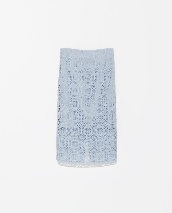 Midi Length Lace Skirt - length: below the knee; style: pencil; fit: tailored/fitted; waist: mid/regular rise; predominant colour: pale blue; occasions: casual, creative work; fibres: cotton - mix; texture group: lace; pattern type: fabric; pattern: patterned/print; trends: lace; season: s/s 2014