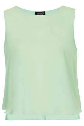 Split Back Shell Top - neckline: round neck; pattern: plain; sleeve style: sleeveless; predominant colour: pistachio; occasions: casual, evening, work, holiday, creative work; length: standard; style: top; fibres: viscose/rayon - 100%; fit: straight cut; sleeve length: sleeveless; texture group: sheer fabrics/chiffon/organza etc.; trends: sorbet shades, sheer; season: s/s 2014