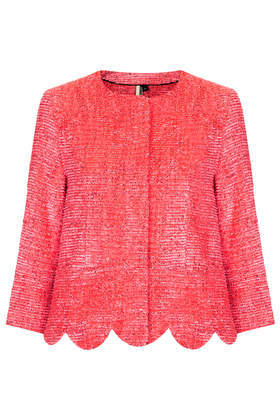 Fringe Scallop Jacket - pattern: plain; collar: round collar/collarless; style: boxy; predominant colour: coral; occasions: casual, evening, occasion, creative work; length: standard; fit: straight cut (boxy); fibres: cotton - mix; sleeve length: 3/4 length; sleeve style: standard; collar break: high; pattern type: fabric; texture group: woven light midweight; trends: hot brights; season: s/s 2014
