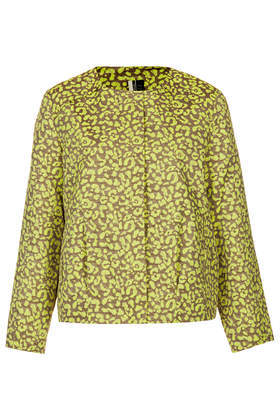 Animal Jacquard Ovoid Bomber Jacket - collar: round collar/collarless; style: bomber; secondary colour: lime; predominant colour: khaki; occasions: casual, creative work; length: standard; fit: straight cut (boxy); fibres: polyester/polyamide - mix; sleeve length: long sleeve; sleeve style: standard; collar break: high; pattern type: fabric; pattern size: standard; pattern: animal print; texture group: brocade/jacquard; season: s/s 2014