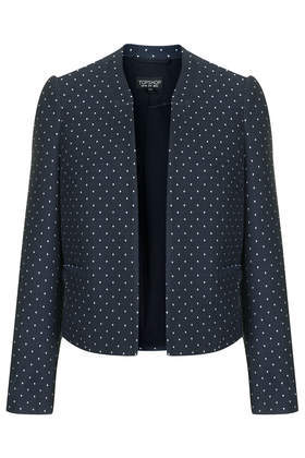 Polka Dot Crop Jacket - collar: round collar/collarless; pattern: polka dot; style: boxy; secondary colour: white; predominant colour: navy; occasions: casual, evening, work, occasion, creative work; fit: straight cut (boxy); fibres: cotton - mix; sleeve length: long sleeve; sleeve style: standard; collar break: low/open; pattern type: fabric; pattern size: standard; texture group: woven light midweight; season: s/s 2014; length: cropped
