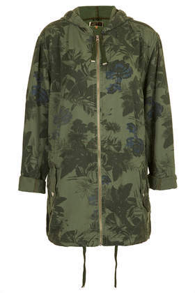 Floral Printed Tencil Parka - length: below the bottom; fit: loose; style: parka; back detail: hood; collar: high neck; predominant colour: khaki; occasions: casual, creative work; fibres: viscose/rayon - 100%; sleeve length: long sleeve; sleeve style: standard; texture group: cotton feel fabrics; collar break: high; pattern type: fabric; pattern: florals; season: s/s 2014; pattern size: big & busy (top)