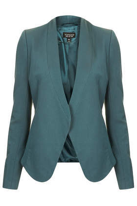 Smart Tailored Blazer - pattern: plain; style: single breasted blazer; collar: round collar/collarless; predominant colour: teal; occasions: casual, evening, work, occasion, creative work; length: standard; fit: tailored/fitted; fibres: cotton - 100%; sleeve length: long sleeve; sleeve style: standard; collar break: low/open; pattern type: fabric; texture group: other - light to midweight; season: s/s 2014