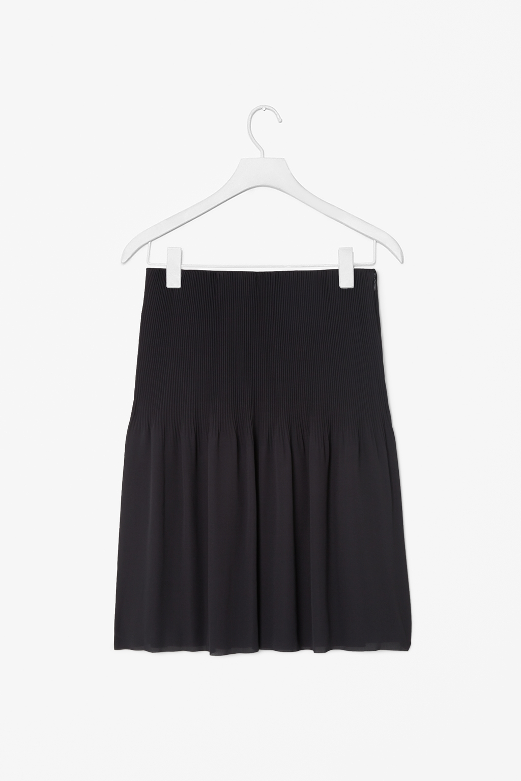 Pleated Skirt - pattern: plain; fit: body skimming; style: pleated; waist detail: elasticated waist; waist: mid/regular rise; predominant colour: black; occasions: casual, evening, work, occasion, creative work; length: on the knee; fibres: polyester/polyamide - 100%; hip detail: soft pleats at hip/draping at hip/flared at hip; pattern type: fabric; texture group: woven light midweight; season: s/s 2014