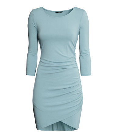 Draped Dress - style: shift; length: mini; neckline: round neck; fit: tight; pattern: plain; predominant colour: pale blue; occasions: evening, creative work; sleeve length: short sleeve; sleeve style: standard; pattern type: fabric; texture group: jersey - stretchy/drapey; fibres: viscose/rayon - mix; season: s/s 2014