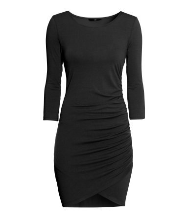 Draped Dress - style: shift; length: mid thigh; neckline: round neck; fit: tight; pattern: plain; predominant colour: black; occasions: casual, evening, occasion, creative work; fibres: viscose/rayon - stretch; sleeve length: 3/4 length; sleeve style: standard; texture group: jersey - clingy; season: s/s 2014