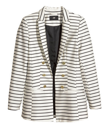 Figure Fit Blazer - pattern: horizontal stripes; style: single breasted blazer; collar: standard lapel/rever collar; predominant colour: ivory/cream; secondary colour: black; occasions: casual, evening, work, occasion, creative work; length: standard; fit: tailored/fitted; fibres: polyester/polyamide - mix; sleeve length: long sleeve; sleeve style: standard; collar break: low/open; pattern type: fabric; pattern size: standard; texture group: woven light midweight; season: s/s 2014