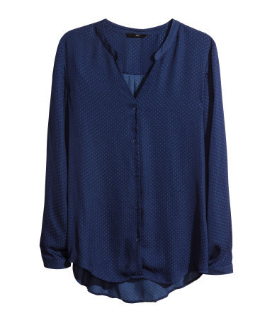 Satin Blouse - pattern: plain; style: blouse; predominant colour: navy; occasions: casual, work, creative work; length: standard; neckline: collarstand & mandarin with v-neck; fibres: polyester/polyamide - 100%; fit: loose; sleeve length: long sleeve; sleeve style: standard; texture group: structured shiny - satin/tafetta/silk etc.; pattern type: fabric; season: s/s 2014