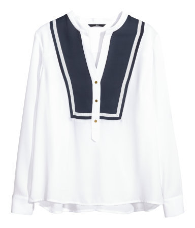 Chiffon Blouse - style: blouse; predominant colour: white; secondary colour: navy; occasions: casual, evening, work, creative work; length: standard; neckline: collarstand & mandarin with v-neck; fibres: polyester/polyamide - 100%; fit: loose; bust detail: contrast pattern/fabric/detail at bust; sleeve length: long sleeve; sleeve style: standard; texture group: sheer fabrics/chiffon/organza etc.; pattern type: fabric; pattern size: standard; pattern: colourblock; season: s/s 2014