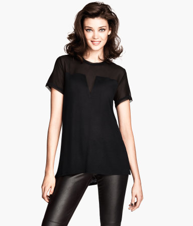 Jersey Top - pattern: plain; predominant colour: black; occasions: casual, evening, creative work; length: standard; style: top; fibres: viscose/rayon - 100%; fit: body skimming; neckline: crew; sleeve length: short sleeve; sleeve style: standard; texture group: jersey - stretchy/drapey; trends: sheer; season: s/s 2014