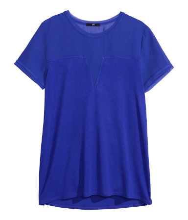 Jersey Top - pattern: plain; predominant colour: royal blue; occasions: casual, evening, creative work; length: standard; style: top; fibres: viscose/rayon - 100%; fit: loose; neckline: crew; sleeve length: short sleeve; sleeve style: standard; texture group: jersey - stretchy/drapey; trends: hot brights; season: s/s 2014