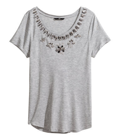 Top With Sparkly Stones - pattern: plain; style: t-shirt; predominant colour: light grey; occasions: casual, evening, holiday, creative work; length: standard; neckline: scoop; fibres: viscose/rayon - 100%; fit: loose; sleeve length: short sleeve; sleeve style: standard; texture group: jersey - stretchy/drapey; embellishment: jewels/stone; season: s/s 2014