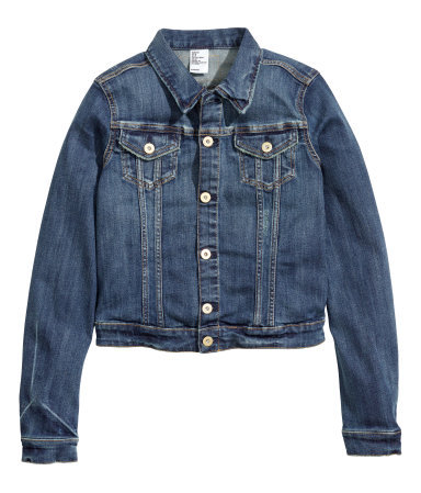 Denim Jacket - pattern: plain; style: denim; predominant colour: denim; occasions: casual, evening, creative work; length: standard; fit: straight cut (boxy); fibres: polyester/polyamide - stretch; collar: shirt collar/peter pan/zip with opening; sleeve length: long sleeve; sleeve style: standard; texture group: denim; collar break: high/illusion of break when open; pattern type: fabric; season: s/s 2014
