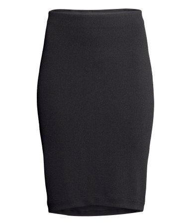Pencil Skirt - length: below the knee; pattern: plain; style: pencil; fit: tailored/fitted; waist: mid/regular rise; predominant colour: black; occasions: casual, evening, work, creative work; fibres: polyester/polyamide - stretch; texture group: jersey - stretchy/drapey; season: s/s 2014