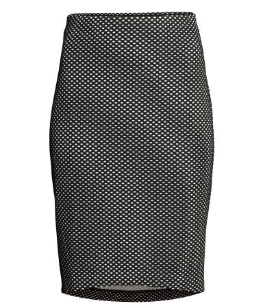 Pencil Skirt - style: pencil; fit: tight; pattern: polka dot; waist: mid/regular rise; secondary colour: white; predominant colour: black; occasions: casual, evening, creative work; length: just above the knee; fibres: polyester/polyamide - stretch; pattern type: fabric; texture group: jersey - stretchy/drapey; season: s/s 2014; pattern size: standard (bottom)