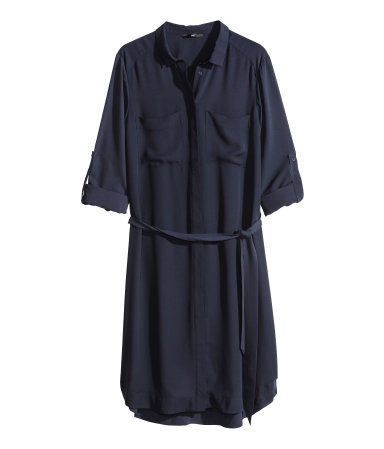 Shirt Dress - style: shirt; neckline: shirt collar/peter pan/zip with opening; fit: loose; pattern: plain; waist detail: belted waist/tie at waist/drawstring; predominant colour: navy; occasions: casual, creative work; length: just above the knee; fibres: polyester/polyamide - 100%; sleeve length: short sleeve; sleeve style: standard; texture group: sheer fabrics/chiffon/organza etc.; pattern type: fabric; season: s/s 2014