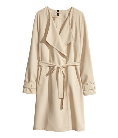 Trenchcoat - pattern: plain; collar: shawl/waterfall; style: trench coat; length: mid thigh; predominant colour: ivory/cream; occasions: casual, evening, work, creative work; fit: straight cut (boxy); fibres: polyester/polyamide - mix; waist detail: belted waist/tie at waist/drawstring; sleeve length: long sleeve; sleeve style: standard; collar break: low/open; texture group: woven light midweight; season: s/s 2014