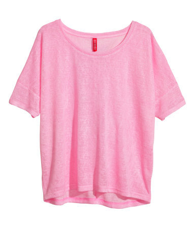 Fine Knit Top - neckline: round neck; pattern: plain; predominant colour: pink; occasions: casual, creative work; length: standard; style: top; fit: loose; sleeve length: short sleeve; sleeve style: standard; texture group: knits/crochet; fibres: viscose/rayon - mix; trends: sorbet shades; season: s/s 2014