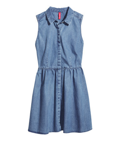 Denim Dress - length: mid thigh; neckline: shirt collar/peter pan/zip with opening; fit: fitted at waist; pattern: plain; sleeve style: sleeveless; predominant colour: denim; occasions: casual, holiday, creative work; style: fit & flare; fibres: cotton - stretch; sleeve length: sleeveless; texture group: denim; season: s/s 2014