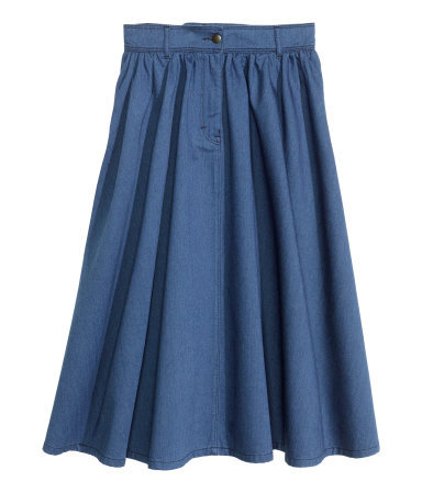 Wide Denim Skirt - length: below the knee; pattern: plain; style: full/prom skirt; fit: loose/voluminous; waist: high rise; predominant colour: royal blue; occasions: casual, evening, holiday, creative work; fibres: cotton - 100%; hip detail: adds bulk at the hips; texture group: denim; season: s/s 2014