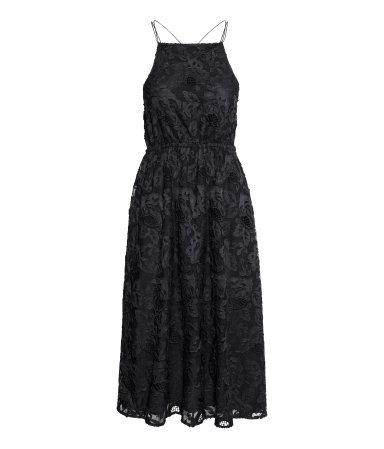 Lace Dress - length: below the knee; sleeve style: sleeveless; waist detail: elasticated waist; predominant colour: black; occasions: evening, occasion, holiday; fit: fitted at waist & bust; style: fit & flare; fibres: polyester/polyamide - 100%; hip detail: adds bulk at the hips; back detail: crossover; sleeve length: sleeveless; texture group: lace; neckline: medium square neck; pattern type: fabric; pattern: patterned/print; trends: lace; season: s/s 2014