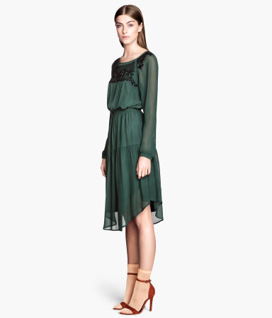 Dress With Beaded Embroidery - style: shift; length: below the knee; neckline: round neck; fit: fitted at waist; pattern: plain; waist detail: elasticated waist; predominant colour: dark green; occasions: casual, evening, occasion, holiday, creative work; fibres: viscose/rayon - 100%; hip detail: soft pleats at hip/draping at hip/flared at hip; sleeve length: long sleeve; sleeve style: standard; texture group: sheer fabrics/chiffon/organza etc.; season: s/s 2014