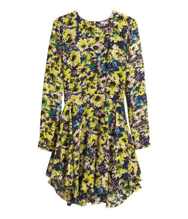 Patterned Dress - style: shift; length: mini; neckline: round neck; secondary colour: royal blue; predominant colour: yellow; occasions: casual, evening, holiday, creative work; fit: fitted at waist & bust; fibres: viscose/rayon - 100%; hip detail: subtle/flattering hip detail; sleeve length: long sleeve; sleeve style: standard; pattern type: fabric; pattern size: big & busy; pattern: florals; texture group: woven light midweight; trends: furious florals; season: s/s 2014