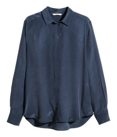 Silk Blouse - neckline: shirt collar/peter pan/zip with opening; pattern: plain; style: shirt; predominant colour: navy; occasions: evening, work, occasion, creative work; length: standard; fibres: silk - 100%; fit: straight cut; back detail: longer hem at back than at front; sleeve length: long sleeve; sleeve style: standard; texture group: structured shiny - satin/tafetta/silk etc.; pattern type: fabric; season: s/s 2014