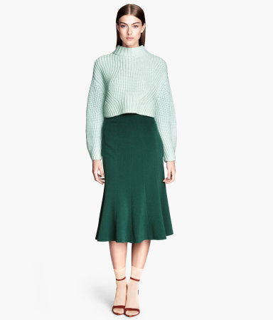 Crêpe Skirt - length: below the knee; pattern: plain; fit: tailored/fitted; waist: mid/regular rise; predominant colour: dark green; occasions: casual, evening, work, creative work; style: fit & flare; fibres: polyester/polyamide - stretch; hip detail: subtle/flattering hip detail; texture group: crepes; season: s/s 2014