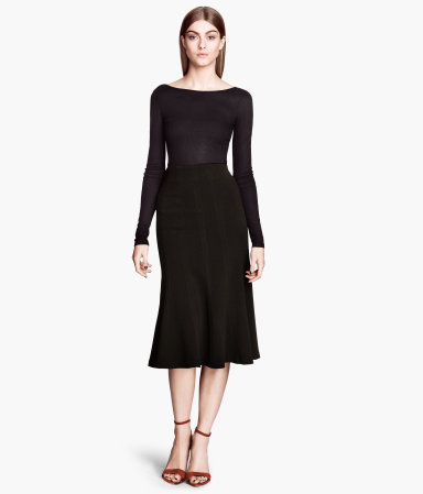 Crêpe Skirt - length: below the knee; pattern: plain; fit: tailored/fitted; waist: mid/regular rise; predominant colour: black; occasions: casual, evening, work, occasion, creative work; style: fit & flare; fibres: polyester/polyamide - stretch; hip detail: subtle/flattering hip detail; texture group: crepes; season: s/s 2014