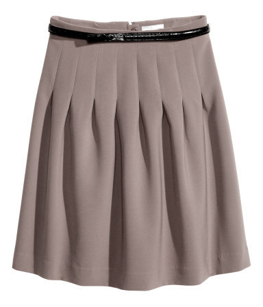 Pleated Skirt - length: mid thigh; pattern: plain; fit: loose/voluminous; style: pleated; waist detail: belted waist/tie at waist/drawstring; waist: mid/regular rise; predominant colour: taupe; occasions: casual, evening, work, creative work; fibres: polyester/polyamide - stretch; hip detail: adds bulk at the hips; texture group: woven light midweight; season: s/s 2014