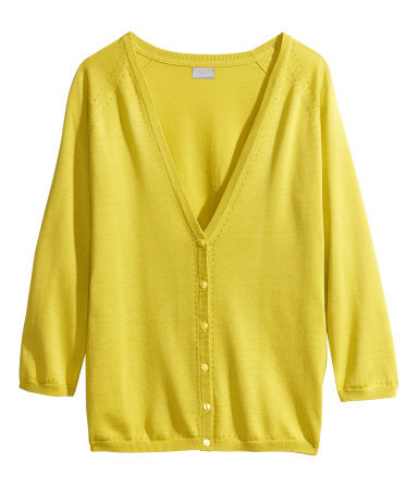 Cardigan In A Silk Blend - neckline: low v-neck; pattern: plain; predominant colour: yellow; occasions: casual, work, holiday, creative work; length: standard; style: standard; fibres: silk - mix; fit: standard fit; sleeve length: 3/4 length; sleeve style: standard; texture group: knits/crochet; pattern type: knitted - fine stitch; trends: hot brights; season: s/s 2014
