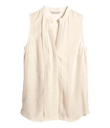 Silk Blouse - pattern: plain; sleeve style: sleeveless; style: blouse; bust detail: ruching/gathering/draping/layers/pintuck pleats at bust; predominant colour: ivory/cream; occasions: casual, evening, work, creative work; length: standard; neckline: collarstand & mandarin with v-neck; fibres: silk - 100%; fit: straight cut; sleeve length: sleeveless; texture group: silky - light; pattern type: fabric; season: s/s 2014