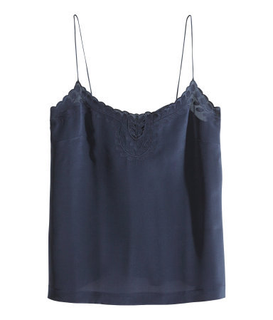 Silk Top - sleeve style: spaghetti straps; pattern: plain; bust detail: added detail/embellishment at bust; style: camisole; predominant colour: navy; occasions: casual, evening, work, creative work; length: standard; neckline: scoop; fibres: silk - 100%; fit: straight cut; sleeve length: sleeveless; texture group: structured shiny - satin/tafetta/silk etc.; embellishment: embroidered; season: s/s 2014