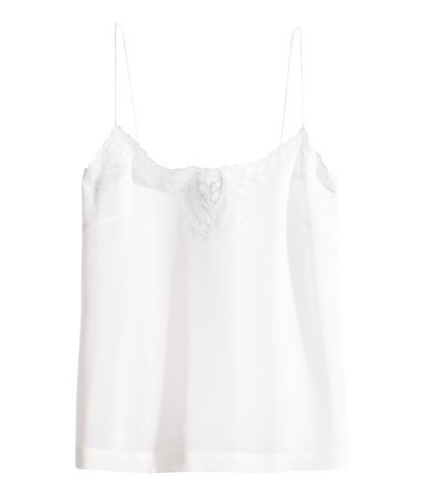 Silk Top - sleeve style: spaghetti straps; pattern: plain; bust detail: added detail/embellishment at bust; style: camisole; predominant colour: white; occasions: casual, evening, work, holiday, creative work; length: standard; neckline: scoop; fibres: silk - 100%; fit: straight cut; sleeve length: sleeveless; texture group: structured shiny - satin/tafetta/silk etc.; pattern type: fabric; embellishment: embroidered; trends: lace; season: s/s 2014